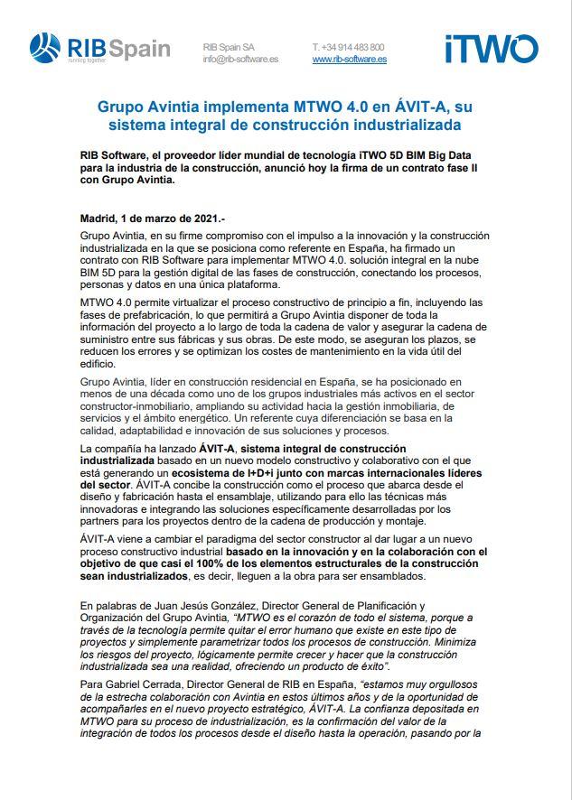 Grupo Avintia implementa MTWO 4.0 en ÁVIT-A, su sistema integral de construcción industrializada